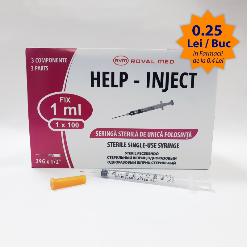 Seringa insulina de unica folosinta 1ml cu ac fix (INCASTRAT)