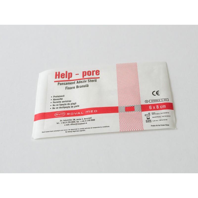 Plasturi sterili fixatori branula Help 6cm x 8cm - cutie100 buc